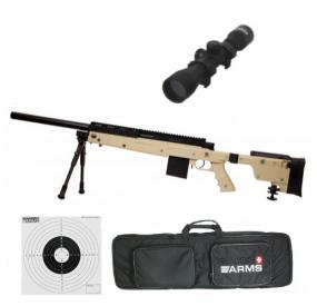 Pack Sniper SAS 06 avec bi-pieds Tan - 1.9J + housse + lunette 4x32 + cibles